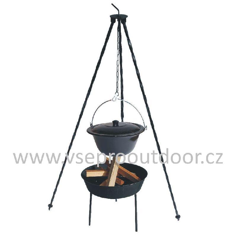Trojnožka 1,25 m kotlík smalt s poklicí 25 l ohniště (Souprava trojnožka ocelová 1,25 m + gulášový kotlík s poklicí 25 l smalt a ohniště)