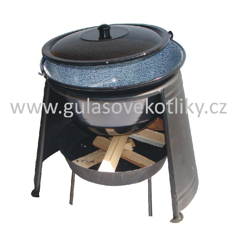 set závětří plamene 40, kotlík s poklicí smalt 22 L a ohniště (ohniště se závětřím plamene 40 cm a smaltovaný gulášový kotlík 22 litrů s poklicí)