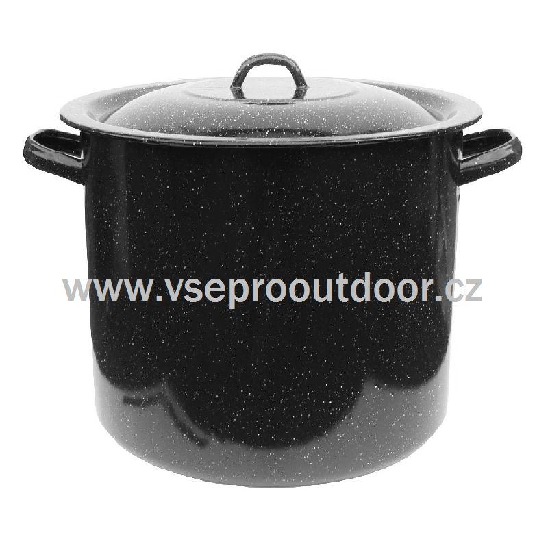 Hrnec smaltovaný 20 L s poklicí (Objemný ocelový oboustranně smaltovaný hrnec 20 litrů černé barvy s bílým dekorem.)