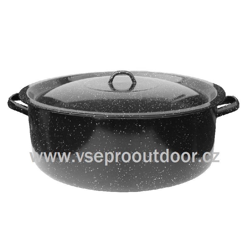 Kastrol smaltovaný 20 L s poklicí (Objemný ocelový oboustranně smaltovaný kastrol 20 litrů černé barvy s bílým dekorem.)