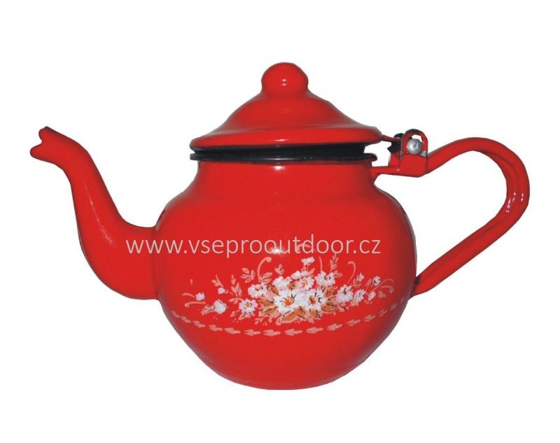 čajník buclák červený smaltovaný s květy 1,25 l (buclatá konvice na čaj červená smaltovaná s květy 1,25 litrů)