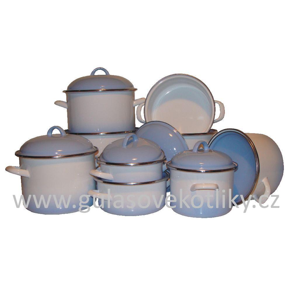 devítidílná souprava smaltovaného nádobí Ema-Lion Alice modrý stín (souprava nádobí smalt bílé s modrým stínem)