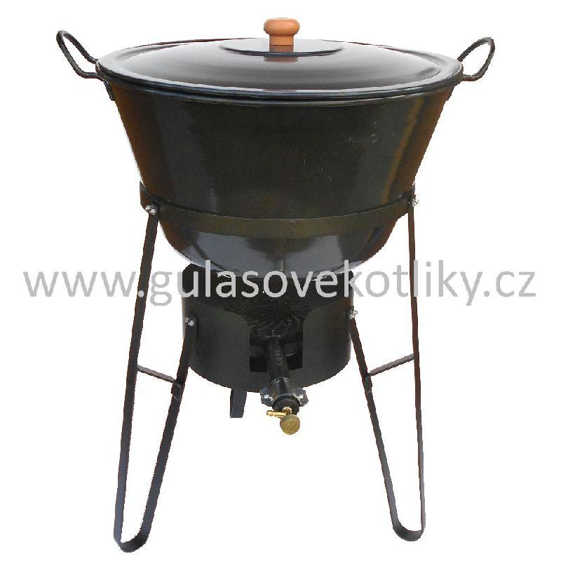 souprava stojan vařič a zabíjačkový kotel 70 litrů s poklicí (Stojan je vhodný pro vaření a ohřívání na akcích a v místech kde není vhodné nebo možné použití klasického ohniště.)