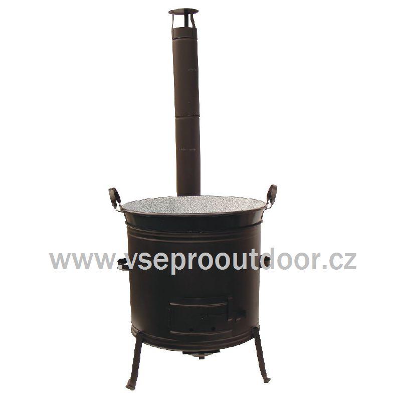 kotlina s kouřovodem a kotel 100 L s madly (kotlina s kouřovodem 63 cm a kotel na zabíjačku smaltovaný s plochými madly 100 litrů )