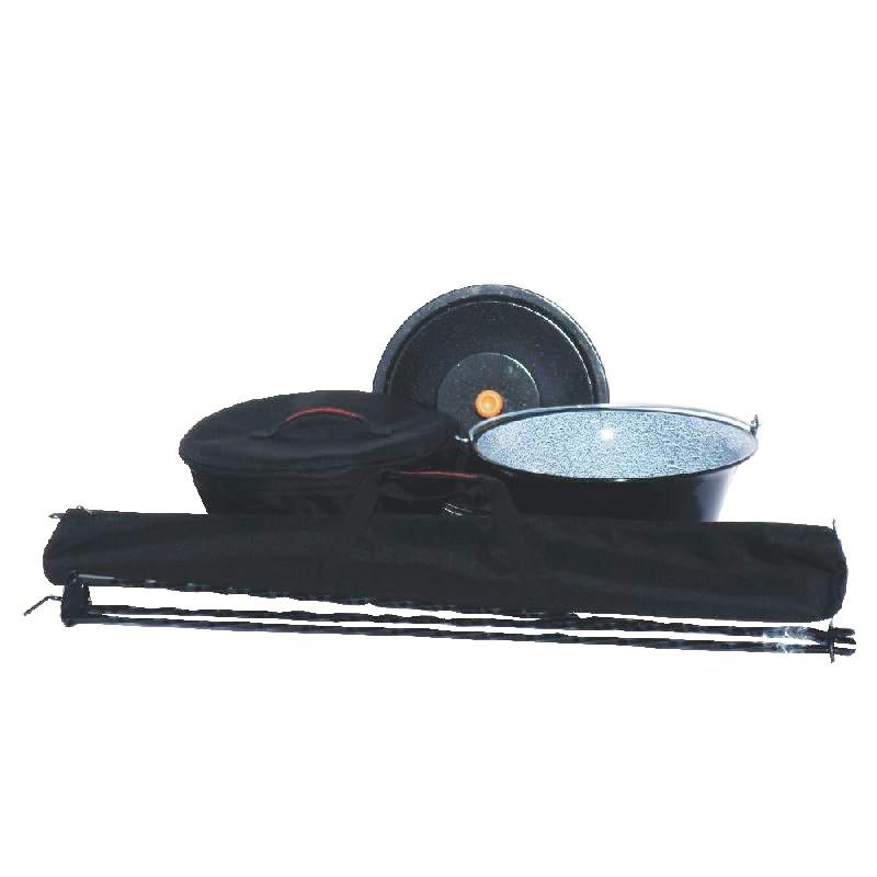 Souprava trojnožka 1 m + kotlík s poklicí 8 l smalt v obalech (Kotlík na guláš s poklicí 8 L a trojnožka v praktických obalech)