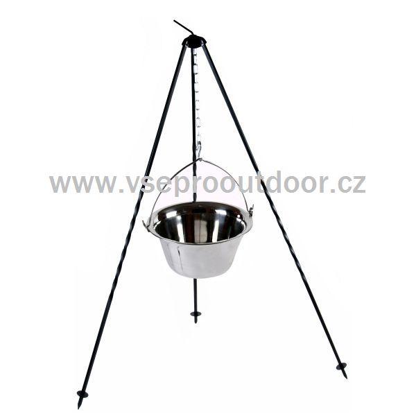 Souprava trojnožka 1,25 m + gulášový kotlík nerezový 22 l (nerezový kotlík na guláš 22 litrů na trojnožce 1,25 m)