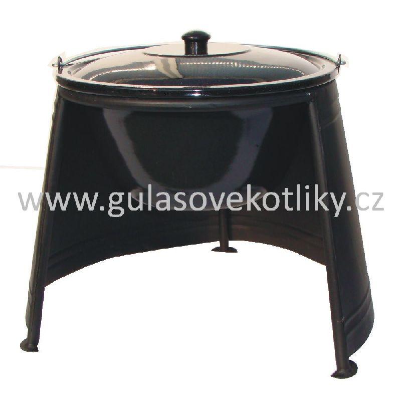 set závětří plamene 33, kotlík s poklicí smalt 10 L (chránič plamene 33 cm a smaltovaný kotlík na guláš s poklicí 10 litrů)
