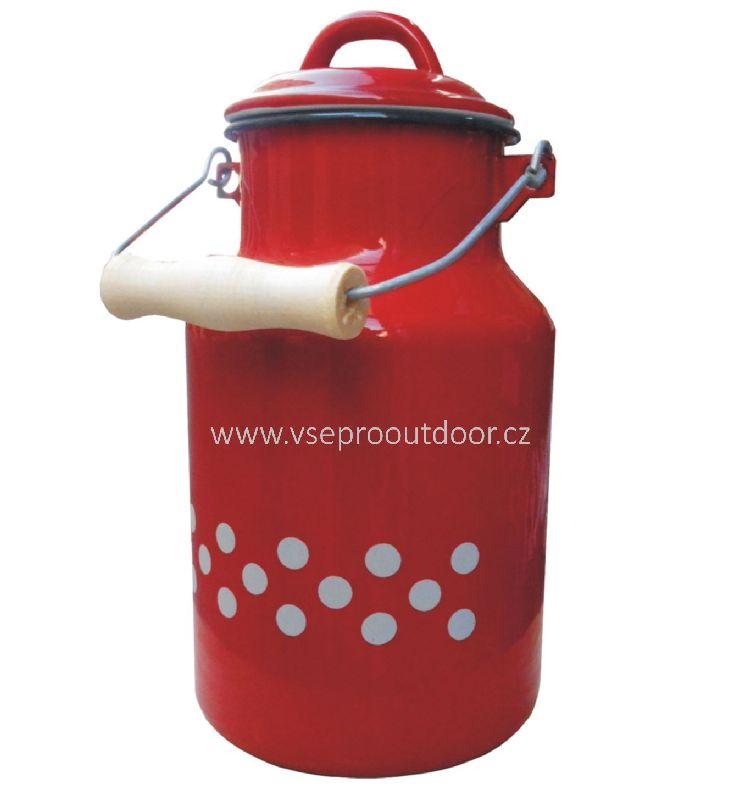 konvička na mléko červená smaltovaní s puntíky 1 l (Bandaska na mléko červená smaltovaná s bílými puntíky 1 litr)