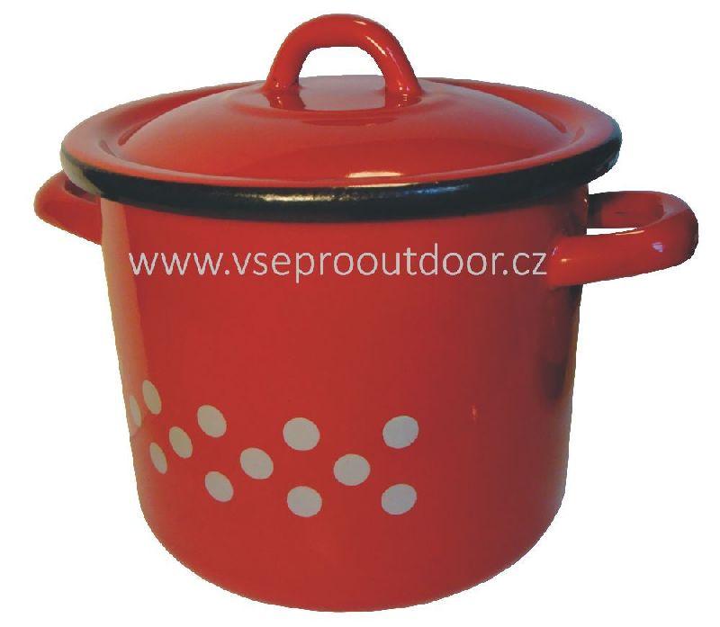 Hrnec s pokličkou červený s bílými puntíky 8 litrů smalt (červený smaltonaný hrnec s bílými puntíky a poklicí 8 L)