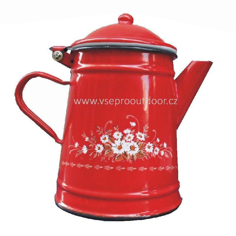 konvice na kávu 1 L s květy (Konvice na kávu červená smaltovaná s květy 1 litr)
