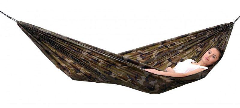 houpací síť TRAVEL Set camouflage (síť závěsná turistická )