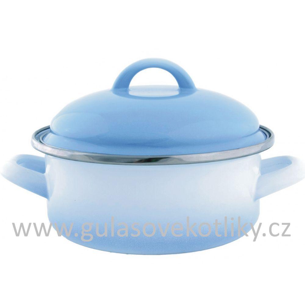 kastrol s poklicí Ema - Lion Alice modrý stín 1,75 L (kastrol s poklicí smaltovaný bílý s modrým stínem 1,75 L)