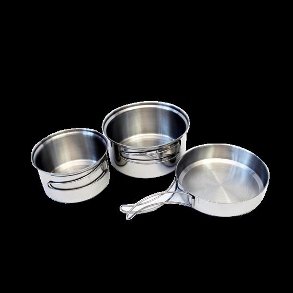 Ešus TRAPPER - sada na vaření 3díly nerez (kempingové nádobí třídílné nerezové)