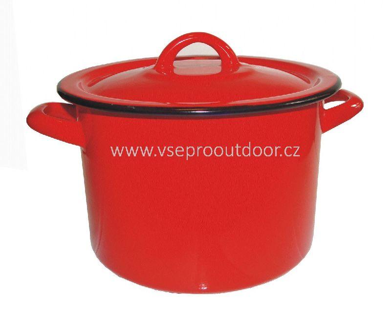 Hrnec smaltovaný s pokličkou červený 2 litry (Červený smaltovaný hrnec s bílými pontíky a poklicí 2 litry)