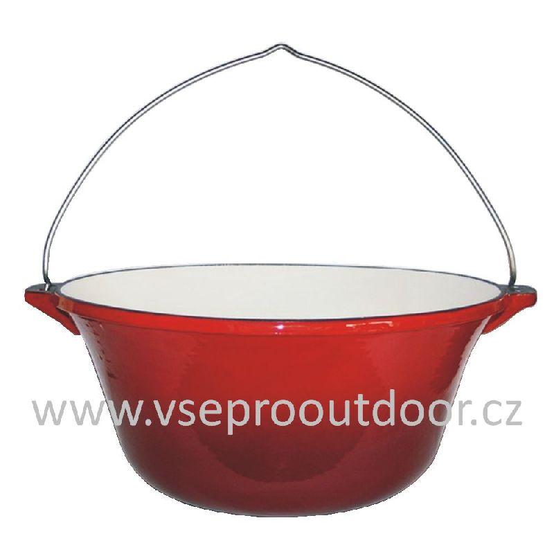 kotlík na guláš litinový smaltovaný 16 l červený (Gulášový kotlík litinový smaltovaný 16 litrů)