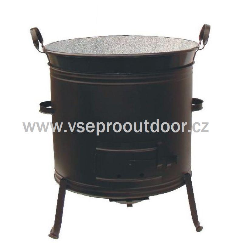 kotlina bez kouřovodu a kotel 70 L s madly (zabíjačková kotlina 56 cm a smaltovaný kotel 70 litrů s plochými madly)