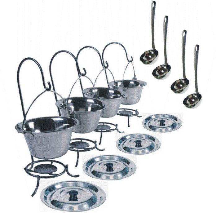 Servírovací nerezový set FUUL 4 kusy (souprava 4 kusů nerez kotlíků s poklicí a naběračkou na stojáncích)
