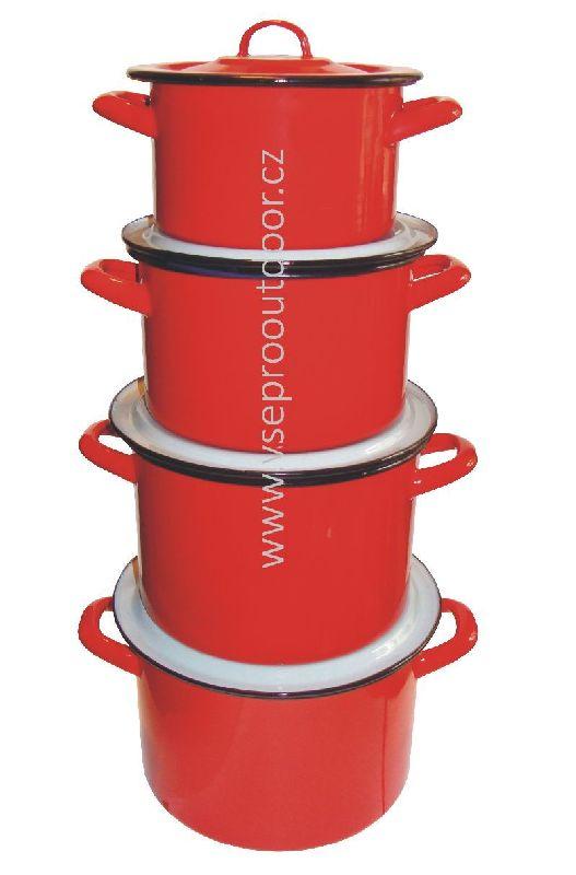 souprava hrnců 1,5 - 4,5 litru (červené smaltované retro hrnce)