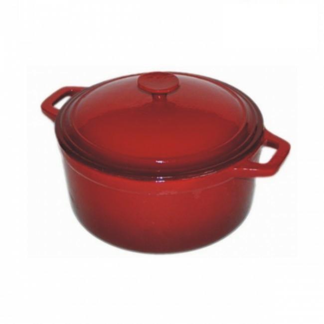 Litinový hrnec s poklicí smaltovaný 28 cm červený (itinový, červeně smaltovaný hrnec s poklicí 6,5 litru)