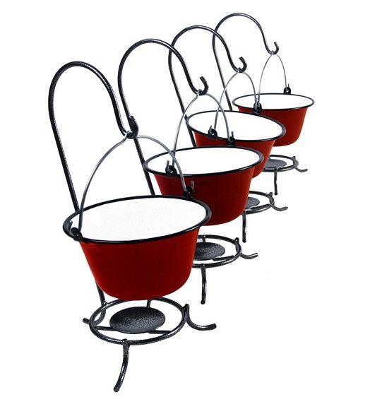 Servírovací gulášový kotlík na stojánku červený set 4 kusy (souprava 4 kusů červených kotlíků na stojáncích)