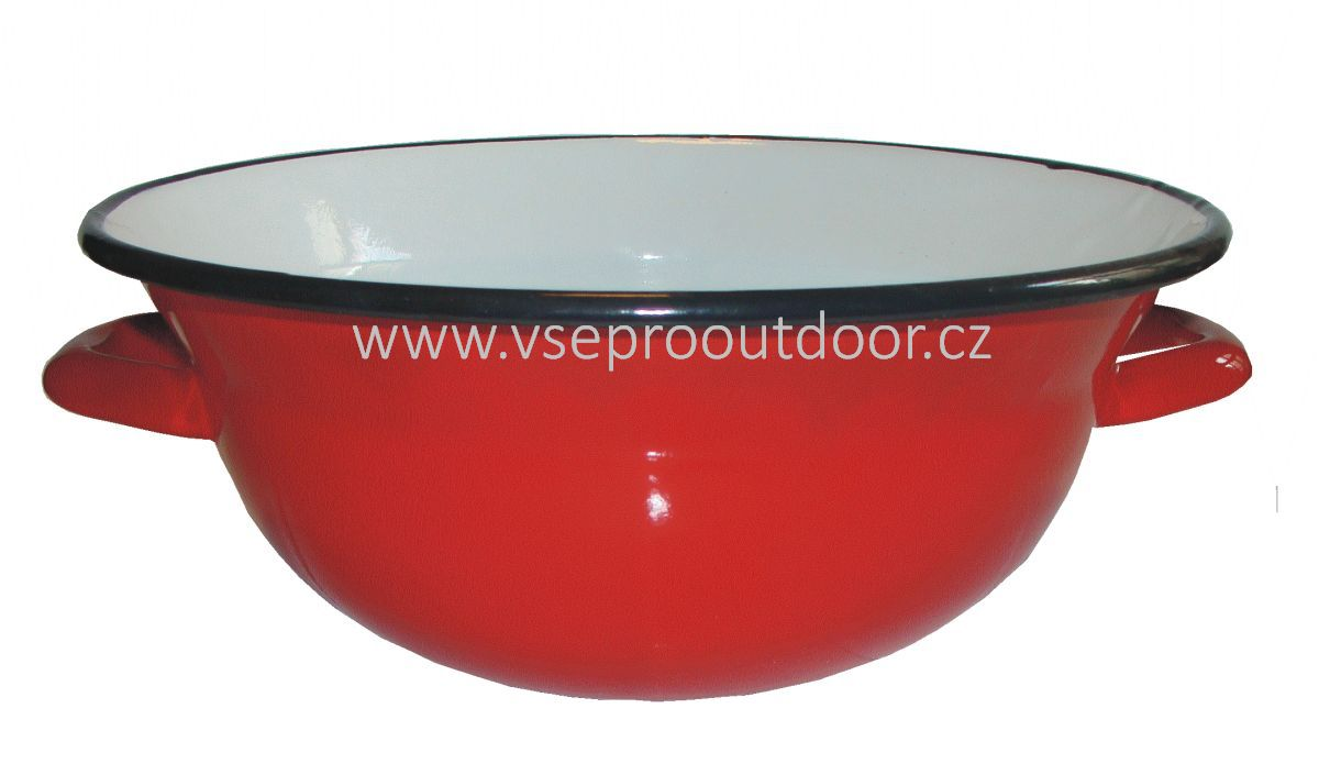zadělávací mísa na těsto červená smaltovaná 2 l (červená smaltovaná těstová mísa)