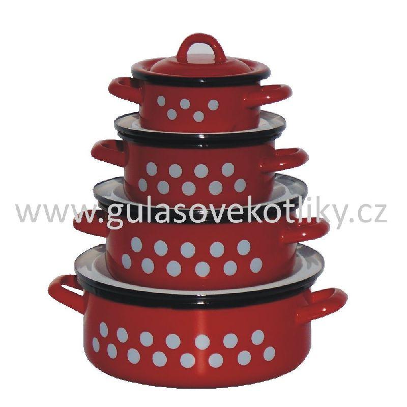 souprava TŘÍ červených kastrolů s bílými puntíky 1 - 3,75 L s poklicemi (červené smaltované retro kastrůlky s bílými puntíky a pokličkami)