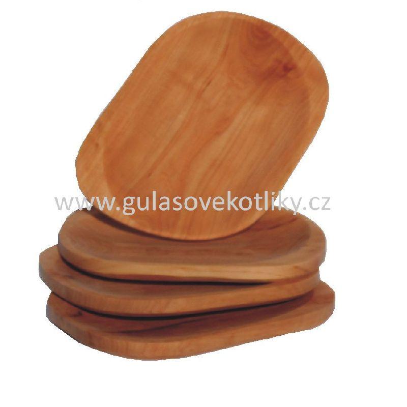 sada čtyř malých dřevěných talířů (čtyři malé talíře servírovací)
