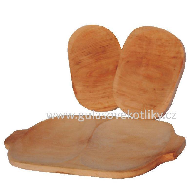 malý dřevěný podnos dělený a dva talíře (servírovací dřevěný podnos dělený na dvě části a dva malé talíře)
