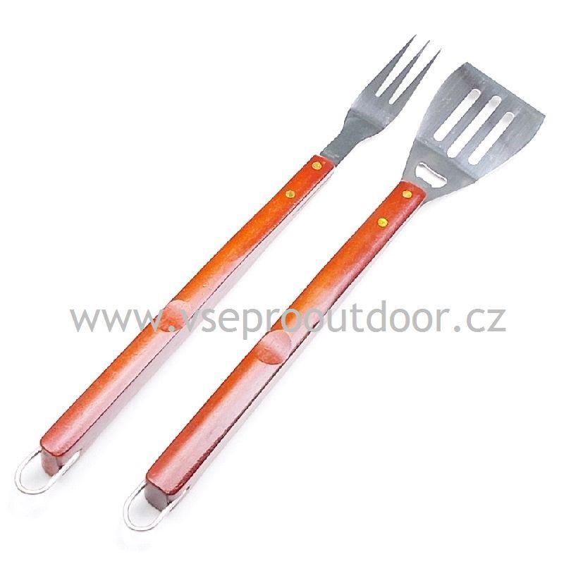 Obracečka 51 cm a vidlička na grilování 53 cm s prodlouženou dřevěnou rukojetí ( Grilovací obracečka a vidlička z nerezové oceli s robustní dřevěnou rukojetí a kovovým poutkem na zavěšení )