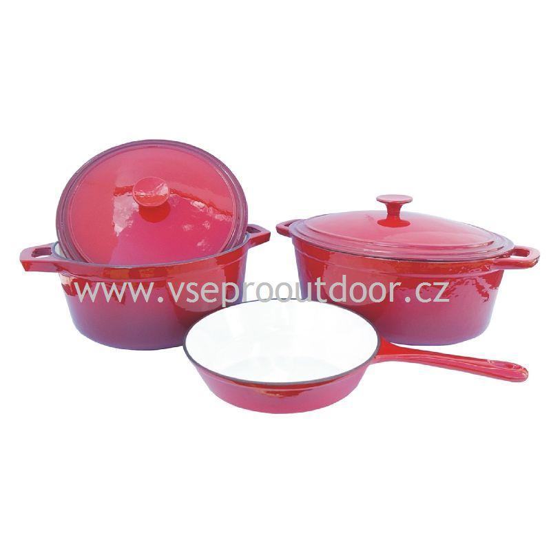 Litinová pánev, hrnec a pekáč s poklicemi červeně smaltované (pánev, hrnec a pekáč s poklicemi litinový červený smalt)