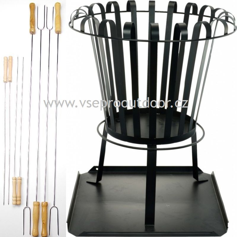 koš na oheň s opékacími vidličkami a jehlami (přenosné otevřené ohniště s opékacími vidličkami a jehlami)