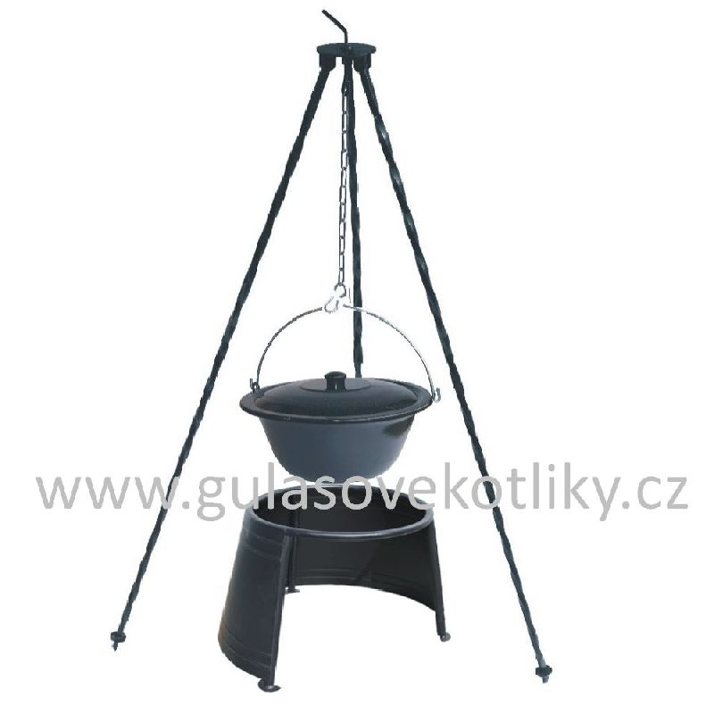 Trojnožka 1,25 m kotlík smalt 22 l s poklici, závětří 40 (smaltovaný kotlík s poklicí 22 litrů na trojnožce 1,25 m a závětří 40 cm)