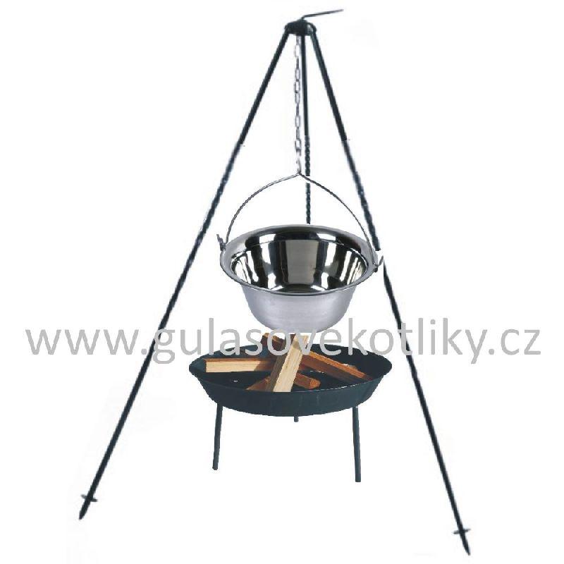 Trojnožka 1 m, kotlík 10 l nerez s ohništěm (nerez kotlík na guláš 10 litrů na trojnožce 1 m)
