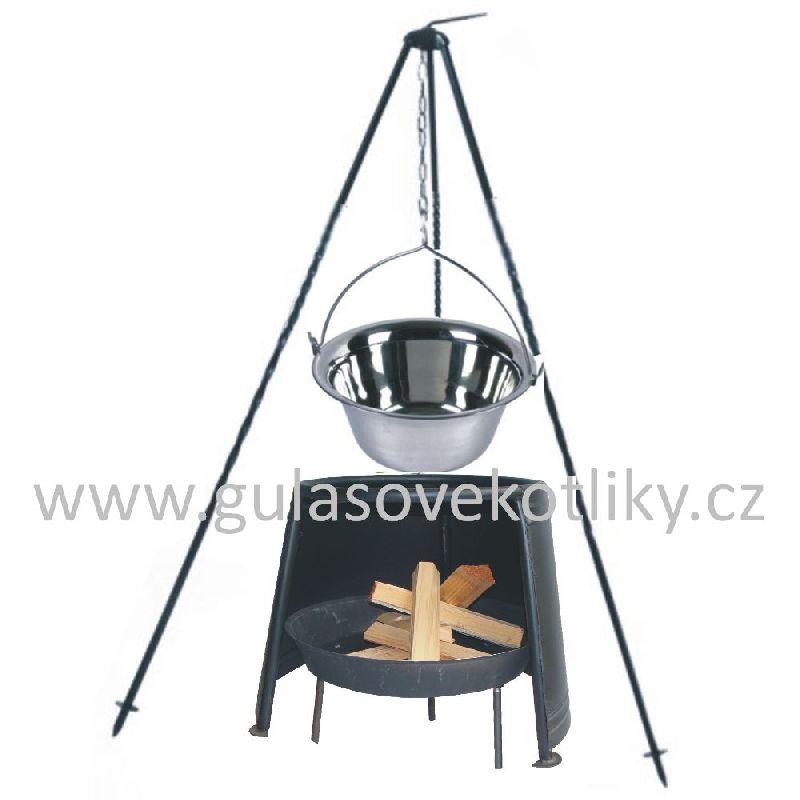 Trojnožka 1 m, kotlík 8 l nerez s ohništěm a závětřím (nerezový kotlík 8 litrů na trojnožce 1 m a ohniště se závětřím 29 cm)