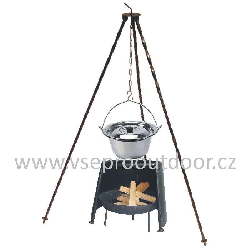 Trojnožka 1m kotlík nerez 8 l s poklicí, ohništěm a závětřím 29 (nerezový kotlík 8 litrů s poklicí na trojnožce 1 m a ohniště se závětřím 29 cm)