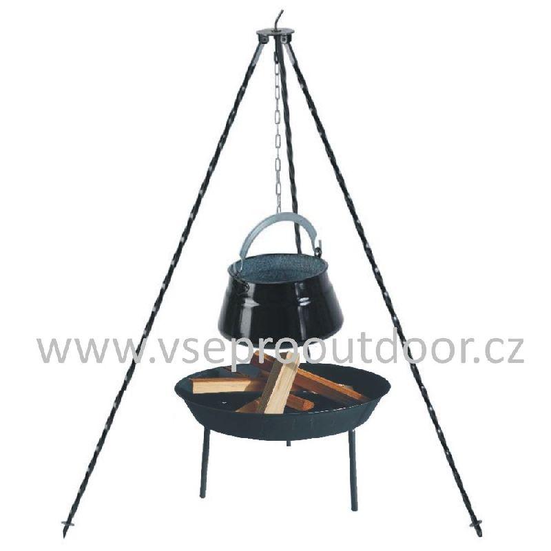 set trojnožka 1 m, rybí kotlík 10 L a ohniště (smaltovaný rybí kotlík 10 litrů na trojnožce 1 m a ohniště)