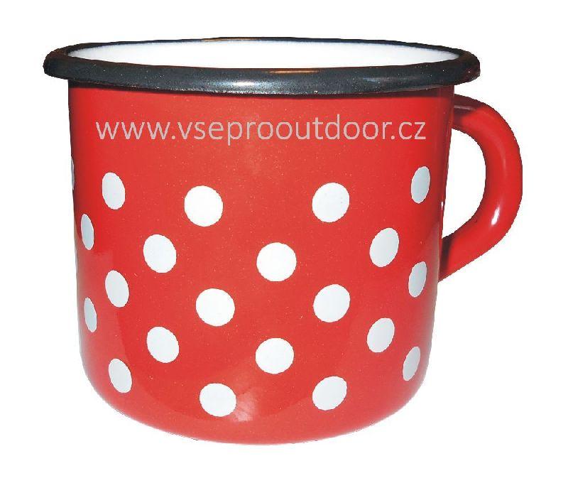 červený smaltovaný hrnek s puntíky 1 l (Hrnek retro červený smaltovaný s bílými puntíky 1 litr)